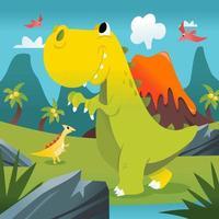 Super Cute Cartoon T-rex Prehistoric Scene vector