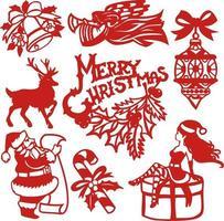 conjunto de elementos de diseño de corte de papel navideño festivo vintage vector