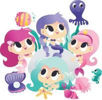 Super Cute Mermaids Sea Creatures Underwater Party vector