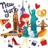 Super Cute New York Shopping And Food Culture vector