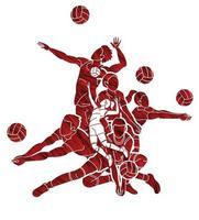 jugadores de voleibol masculino y femenino vector