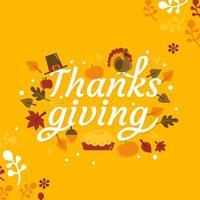 Retro Autumn Thanksgiving Lettering Phrase vector