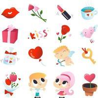 Super Cute Valentine's Day Set vector