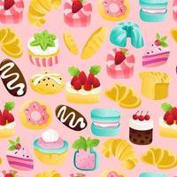Super Cute Cakes Desserts Seamless Pattern Background