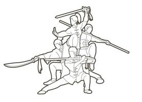luchador de kung fu con contorno de armas vector