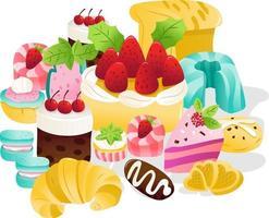 colección de postres dulces super lindos vector