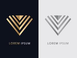 Abstract Diamond Jewelry Gold and Silver vector