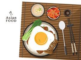 Donburi pork rice bowl with egg, lettuce topping vector