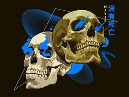 Mixed Art of Skulls with Abstract Shapes vector