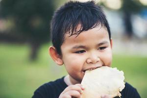 Little boy eating a fresh bread roll sandwich photo