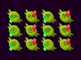 Basic RGBset of game ui rounded wooden nature leaves magic power up icon for gui asset elements vector illustration