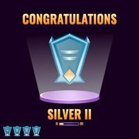 game ui silver ranked level up interface for game ui asset elements vector illustration
