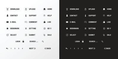 elemento botón web establecer color blanco y negro vector