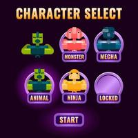 glossy fantasy Game ui character selection pop up for 2d gui interface vector illustration