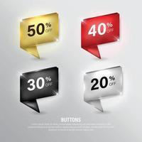 Premium color discount Ribbon set vector