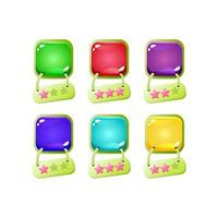 set of colorful jelly game ui with green border and hanging star icon for gui asset elements vector illustration