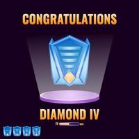 Interfaz de nivel superior clasificado como diamante de interfaz de usuario de juego para elementos de activos de interfaz de usuario de juego ilustración vectorial