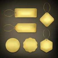Tag label basic set in gold on black background vector