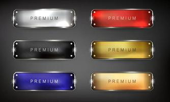 Buttons set web steel on black background vector
