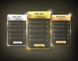 Web price table pack vector