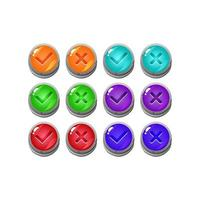 set of stone rock jelly game ui button yes and no check marks for gui asset elements vector illustration