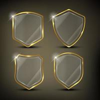 Glossy shields set with gold border vector