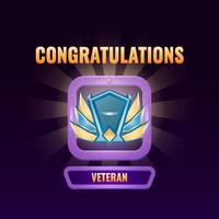 game ui ranked up to veteran interface vector illustration