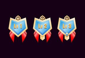 game ui glossy golden diamond rank badge medals with red ribbon vector