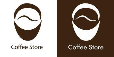 Coffee Negative Space logo Minimalist Design vector