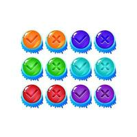 set of ice winter jelly game ui button yes and no check marks for gui asset elements vector illustration