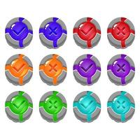 set of broken stone rock jelly game ui button yes and no check marks for gui asset elements vector illustration