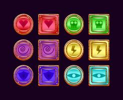 set of funny game ui wooden jelly magic power up icon for gui asset elements vector illustration