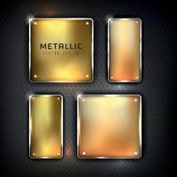 Golden iron web set button on black background vector