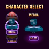 fantasy Game ui character selection pop up for 2d gui interface vector illustration
