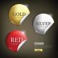 Circle sticker set in gold silver and red vector