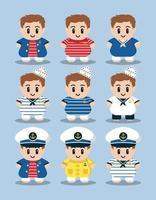 conjunto de personajes de dibujos animados lindo marinero vector