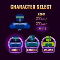 purple Game ui character selection pop up for 2d gui interface vector illustration