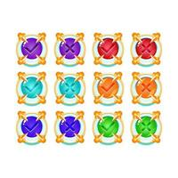 set of freeze ice medieval jelly game ui button yes and no check marks for gui asset elements vector illustration
