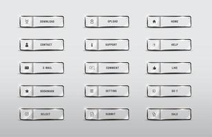 Botones de elemento web set rectángulo brillante iconos vector