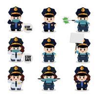 conjunto de personajes de dibujos animados lindo policía vector
