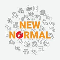 New Normal Banner, iconic art banner contains activities after pandemic covid-19 era, contains all activities such as avoid crowd, social distancing, work from home, online meeting, etc, vector illustration