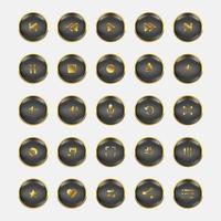 Audio Video control gold set vector