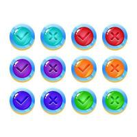 set of fantasy space jelly game ui button yes and no check marks for gui asset elements vector illustration