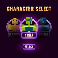 glossy purple Game ui character selection pop up for 2d gui interface vector illustration
