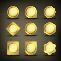Button set in gold with different shapes vector