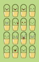 Cute Cactus Cartoon Character Set vector