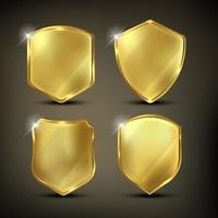 Golden shields set vector