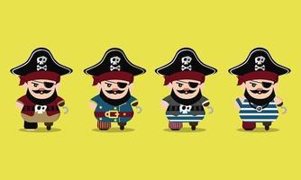lindo conjunto de personajes de dibujos animados piratas vector