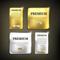 Button set in premium gold and silver colors vector