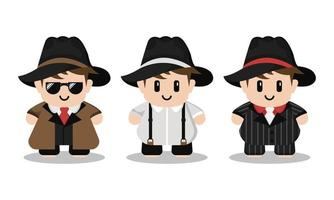 Cute Mafia Cartoon Character Set vector